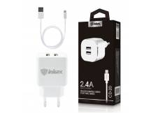 Cargador Dual Inkax c/Cable Iphone 2.4A