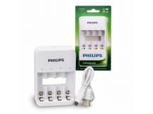 Cargador USB Philips para 4 pilas AAA/AA