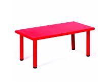 Mesa de plástico rectangular rojo
