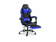 Silla Gamer Lumax ROM negro/azul c/posapies
